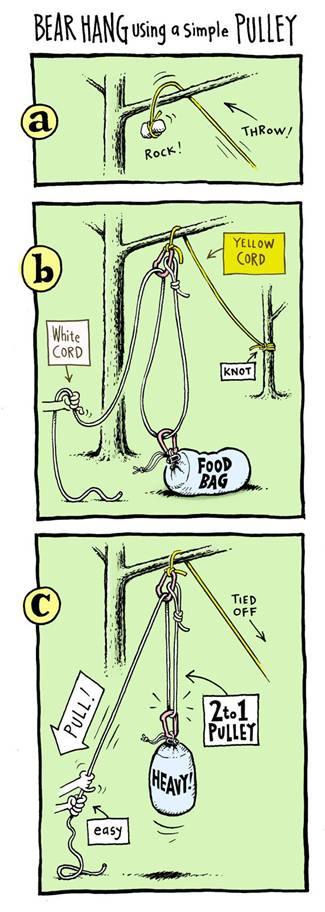 Bear Hang Using A Simple Pulley: